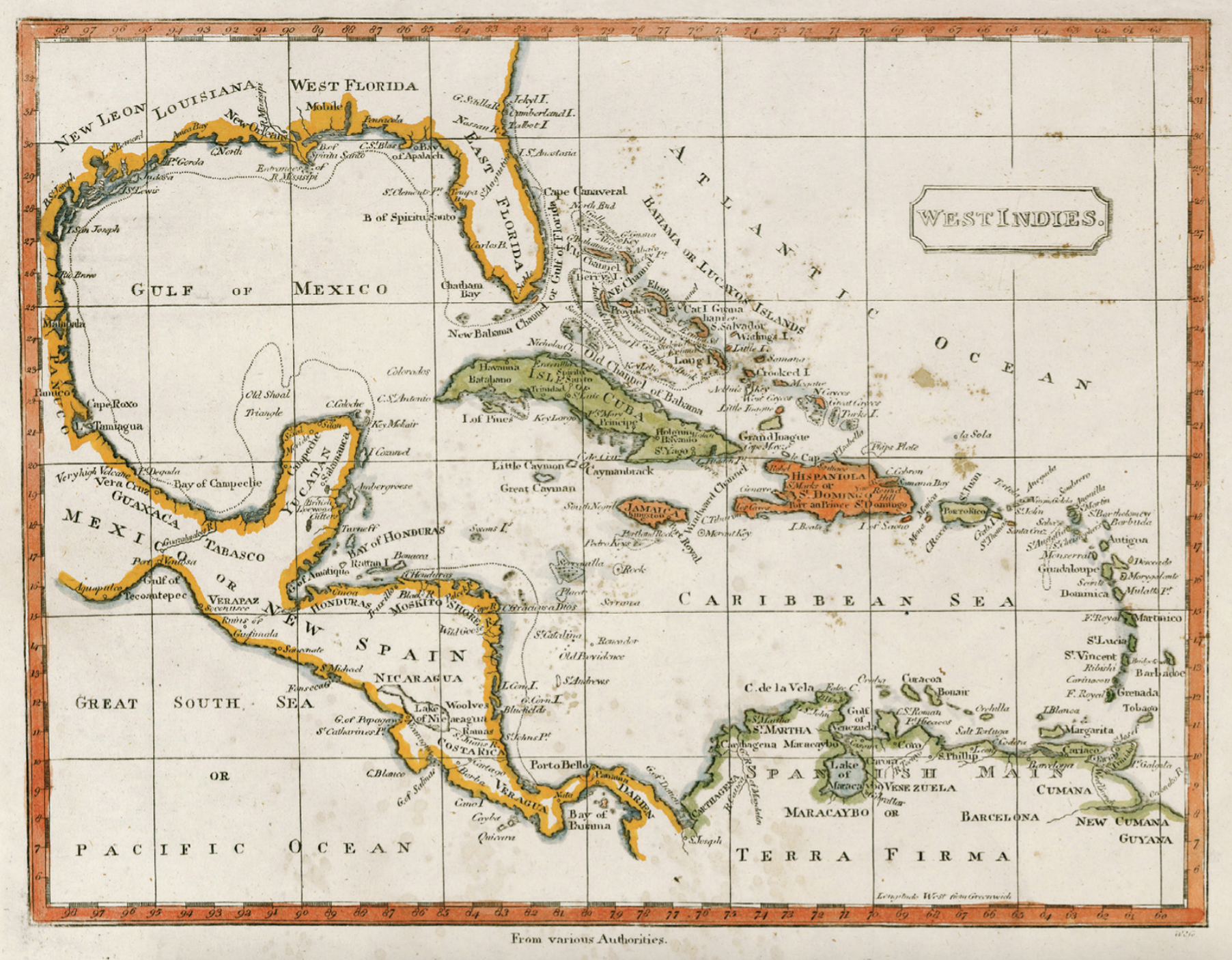 Map of Florida and the Caribbean